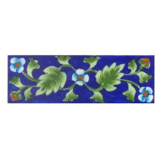 Turquoise saiding flower and Lime Green leaf with Blue base Tile (2x6)