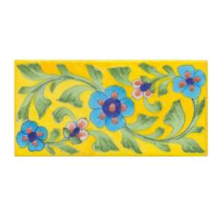 Turquoise Flower and Yellow Tile