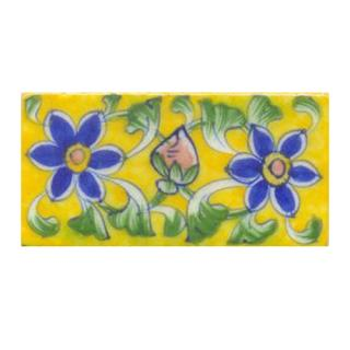 Two blue flower and yellow tile