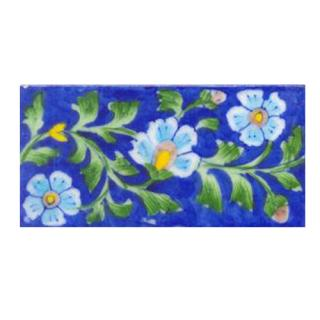 Three turqouise flower and blue tile