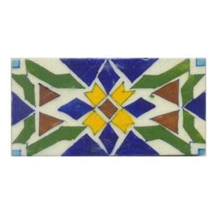 Yellow,Green,Blue,Brown colored tile with white tile