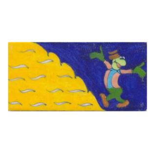 Cartoon with blue and yellow tile