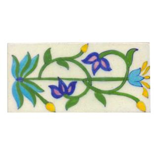 Turqouise,blue flower and green leaves with white tile