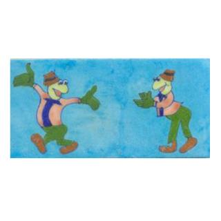 Two cartoon with turqouise tile