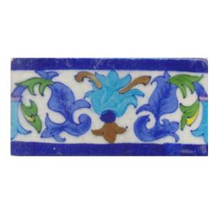 Turqouise and lime blue flower with white tile