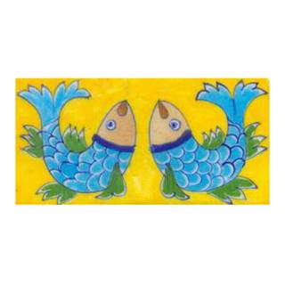Two turqouise fish and yellow tile