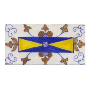 Blue,yellow,brown flower with white tile