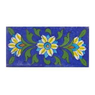 Three yellow and turqouise flower and green leaves with blue tile