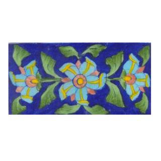 Three turqouise flower lime green leaves with blue tile
