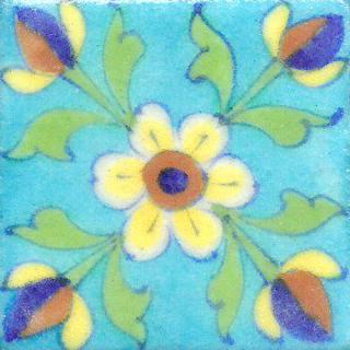 Yellow Flowers With Green Leaves On Turquoise Base Tile
