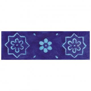 Turquoise and Blue Flowers with Blue Base Tile