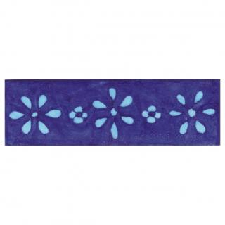 Turquoise Flowers and Blue Base Tile