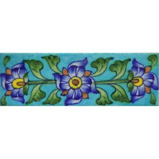 Blue Flowers With Green Leaves Design On Turquoise base Tile