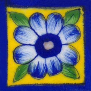 Blue bordered yellow tile wih blue flower