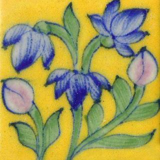 Blue Flowers With Green Leaves On Yellow Base Tile