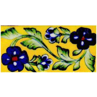 Green vine with blue flowers on yellow tile (2x4-02)