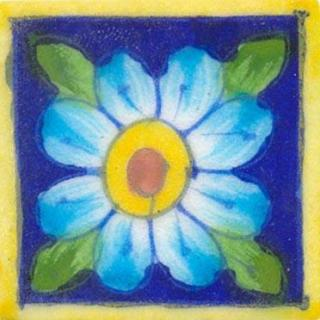 Blue tile with turquoise flower