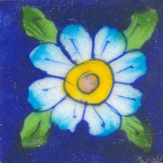 Blue Tile with Turquoise & Green Flower