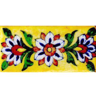 Blue, brown and white flowers on yellow tile (2x4-BPT03)