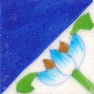 nice flower on half part of blue tile