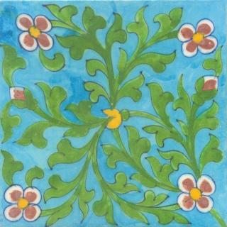 Red Flowers and Green leaf with Turquoise Base Tile