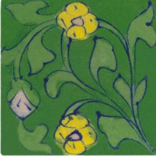 Yellow flower and light green leaves on green tile