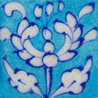 white floral on turquoise tile