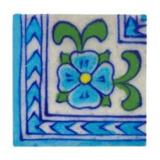 A nice corner design tile painted with turquise and green flower
