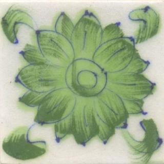 Green Flower and Green leaf with White Base Tile