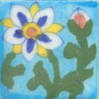 Blue,White and Yellow Flower With Green Leaves On Turquoise Base Tile