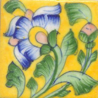 Yellow tile with blue & green floral