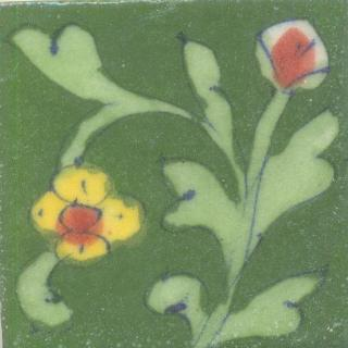 Yellow and Red Flowers With Light Green Leaves On Green Base Tile