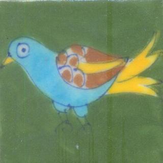 Bird Design On Green Base Tile