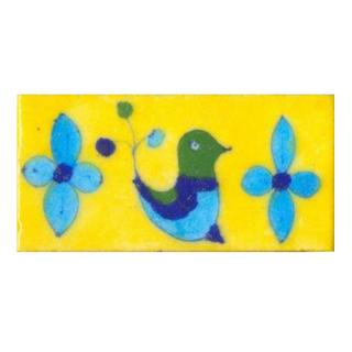 Bird Design on Yellow Base Tile
