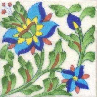 Turquoise,Yellow Flower and White Tile