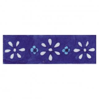 White and Turquoise Flowers with Blue Base Tile