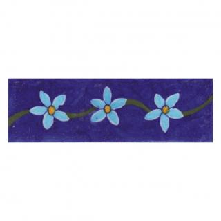 Turquoise and Yellow Flowers with Blue Base Tile