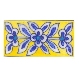 Blue & white flower on yellow tile (2x4-BPT09)