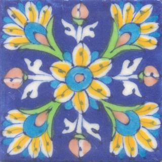Yellow, turquoise, brown and green flowers on blue tile