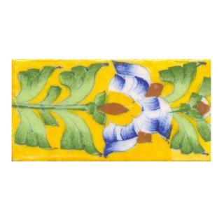 Blue, brown flower with green leaves on yellow tile (2x4-BPT10)