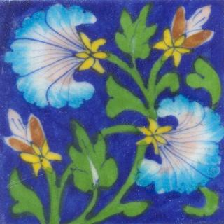 Turquoise and Pink Flowers and Green leaf with Blue Base Tile