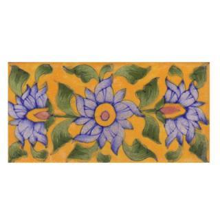 Light Blue Flower on Yellow Base Tile
