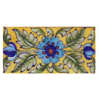Turquosie,Blue and Brown Flower and Green Shaiding Leaf with Yellow Base Tile-04