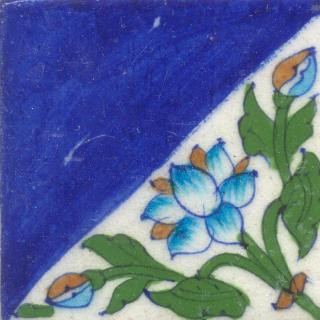 Half an Tile Design and Half an Blue Color Tile
