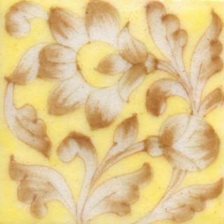 Brown Flower and leaf with Yellow Base Tile