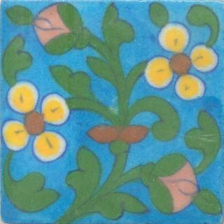 Yellow and Brown Flowers and Green leaf with Turquoise Base Tile