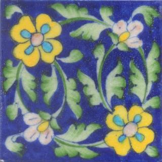 Two Yellow and Turquoise Flowers Lime Green leaf with Blue Base Tile