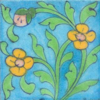 Yellow and Pink Flowers and Green leaf with Turquoise Base Tile