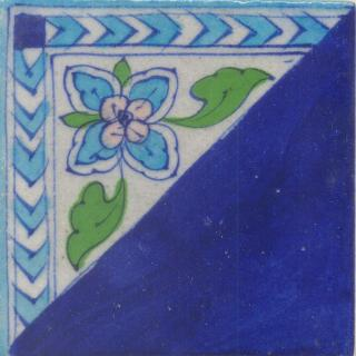 Half an Tile Turquoise,Green and Pink design and half an Blue color Tile