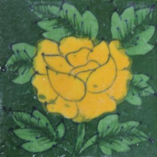 Yellow flower on green tile (3x3-bpt11)